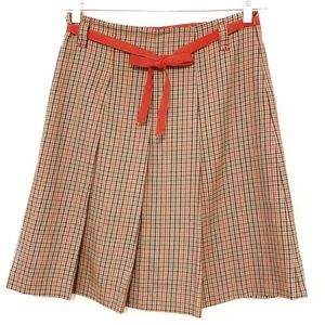 Zara Pleated Plaid Skirt With Red Ribbon Belt